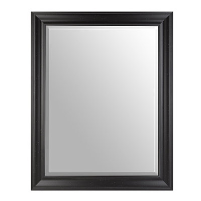 Distressed Black Framed Mirror, 38x48