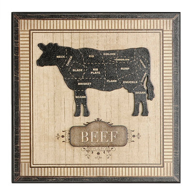 Cow Butcher Block Wall Plaque