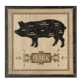 Pig Butcher Block Wall Plaque
