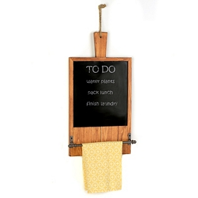 Wooden Chalkboard Kitchen Towel Rack