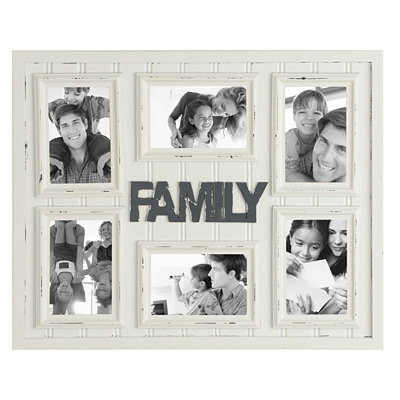 Distressed Ivory Family Collage Frame