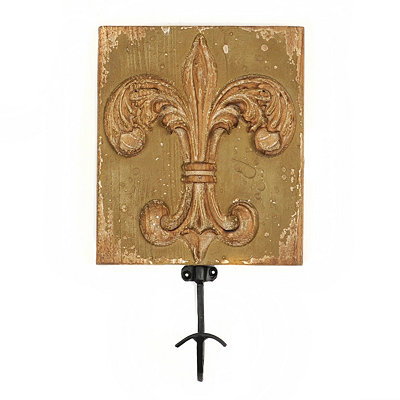 Distressed Green Fleur-de-Lis Wall Hook