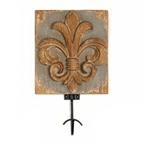 Distressed Gray Fleur-de-Lis Wall Hook