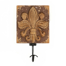 Distressed Brown Fleur-de-Lis Wall Hook