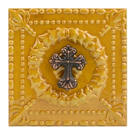 Yellow Embossed Cross Metal Plaque