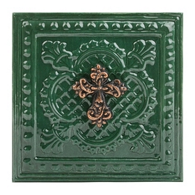 Green Embossed Cross Metal Plaque