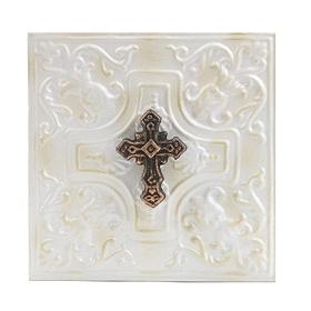 Distressed Ivory Embossed Cross Metal Plaque