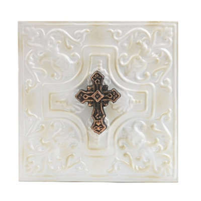 Distressed Ivory Embossed Cross Metal Plaque