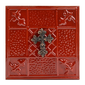 Red Embossed Cross Metal Plaque