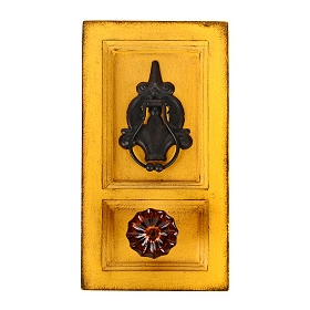 Yellow Vintage Wall Hook with Crystal Knob