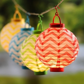 Chevron Paper Lantern Lights, Set of 4
