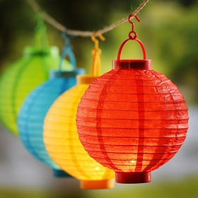 Multicolored Paper Lantern Lights, Set of 4