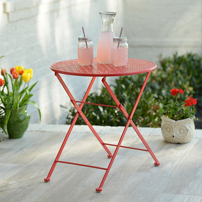 Pierced Red Patio Table
