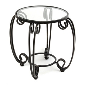 Glass Top Metal Scroll Patio Table