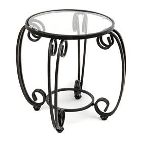 Glass Top Metal Scroll Patio Table