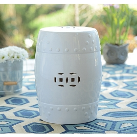 White Geometric Ceramic Outdoor Stool