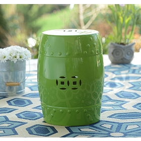 Green Geometric Ceramic Outdoor Stool