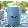 Blue Geometric Ceramic Outdoor Stool