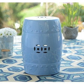 Blue Geometric Ceramic Outdoor Stool