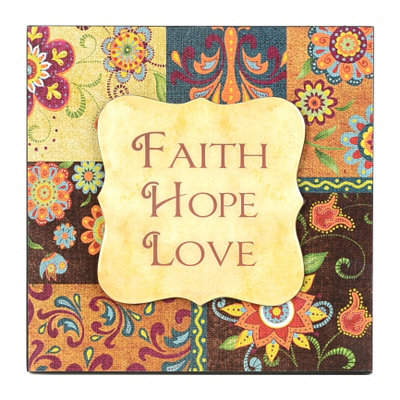 Faith, Hope, Love Patchwork Wall Plaque