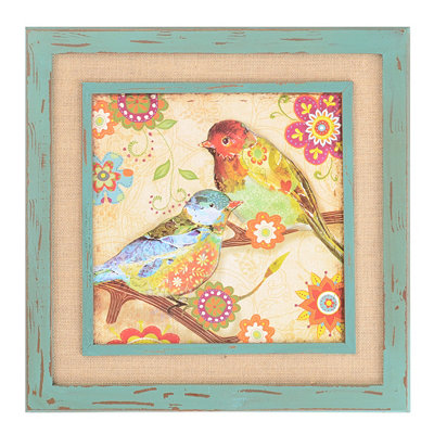 Patchwork Birds Burlap Framed Plaque