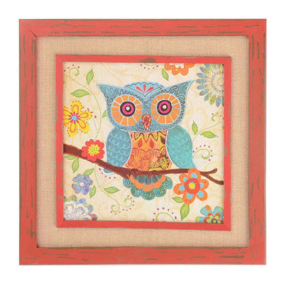 Patchwork Owl Burlap Framed Plaque