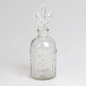 Fleur-de-Lis Glass Bottle, 7.5 in.
