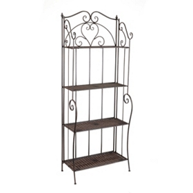 Wicker and Metal Bronze Baker's Rack