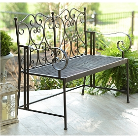 Bronze Heart Metal Outdoor Bench
