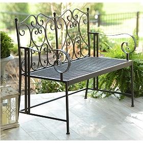 Bronze Heart Metal Outdoor Bench