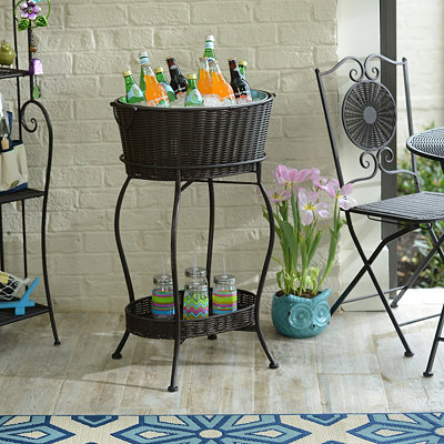 Bronze Wicker & Metal Beverage Station