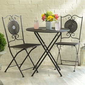 Bronze Wicker & Metal Bistro Set
