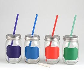 Color Chalkboard Label Mason Jar Sippers, Set of 4