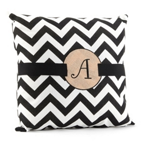 Burlap Monogram A Chevron Accent Pillow