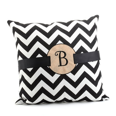 Burlap Monogram B Chevron Accent Pillow