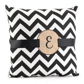 Burlap Monogram E Chevron Accent Pillow