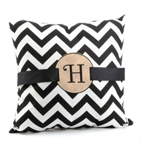 Burlap Monogram H Chevron Accent Pillow