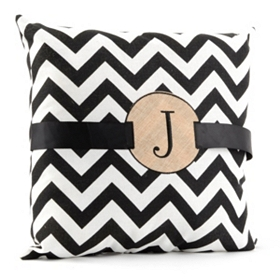 Burlap Monogram J Chevron Accent Pillow