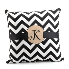 Burlap Monogram K Chevron Accent Pillow