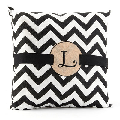 Burlap Monogram L Chevron Accent Pillow