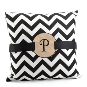 Burlap Monogram P Chevron Accent Pillow