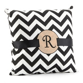 Burlap Monogram R Chevron Accent Pillow