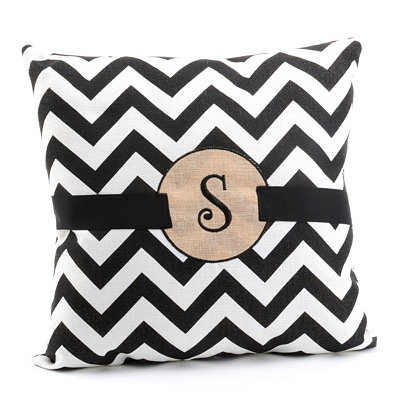 Burlap Monogram S Chevron Accent Pillow