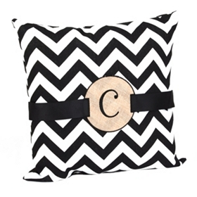Burlap Monogram C Chevron Accent Pillow