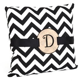 Burlap Monogram D Chevron Accent Pillow