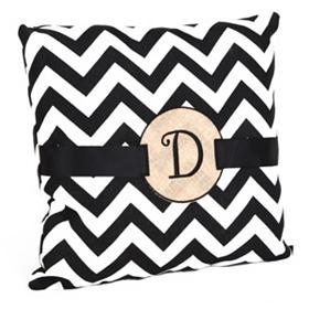 Burlap Monogram D Chevron Accent Pillow