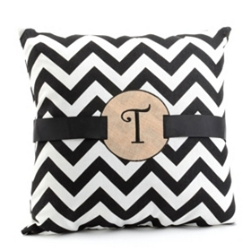Burlap Monogram T Chevron Accent Pillow