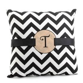 Burlap Monogram T Chevron Accent Pillow