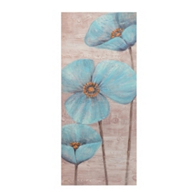 Blue Poppy Wood Grain I Canvas Art Print