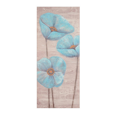 Blue Poppy Wood Grain II Canvas Art Print